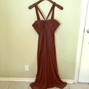 Shimmering brown evening gown